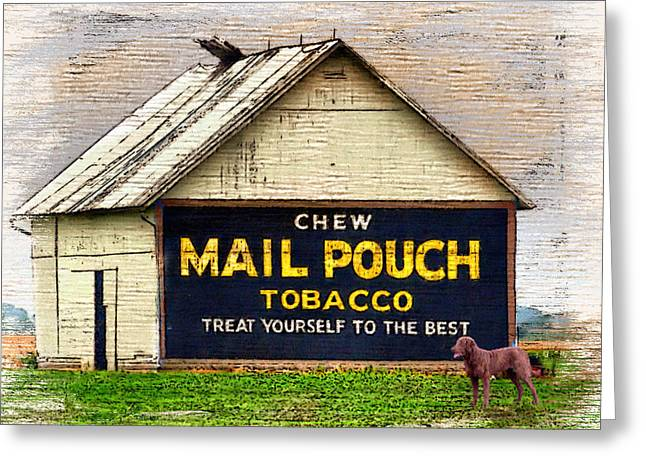 Greeting Card featuring the digital art Mail Pouch Barn by Mary Almond