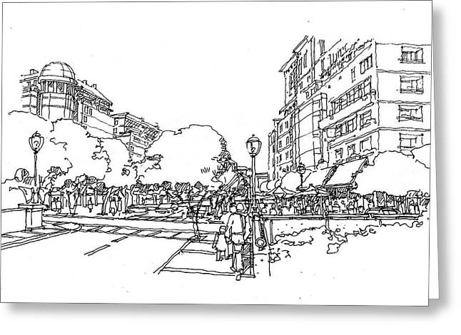 Main Street Greeting Card by Andrew Drozdowicz