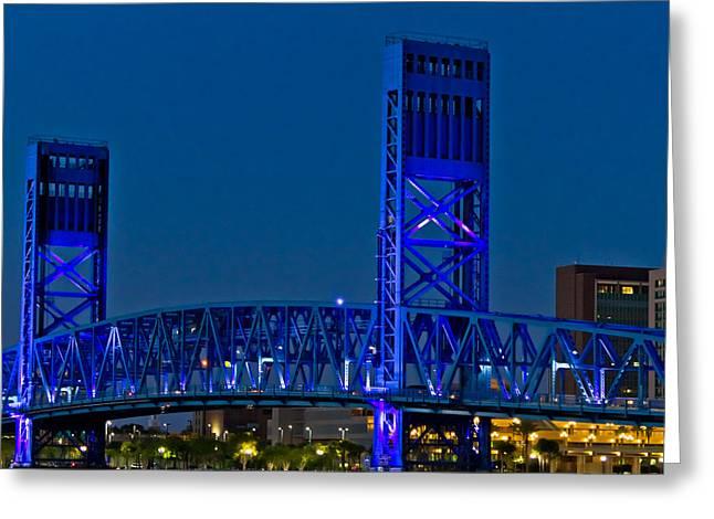 Main Street Bridge Jacksonville Greeting Card by Debra and Dave Vanderlaan
