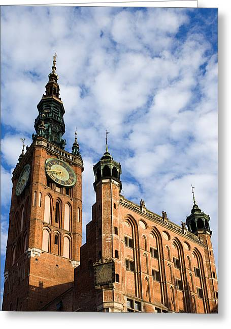 Main Town Hall In Gdansk Greeting Card by Artur Bogacki