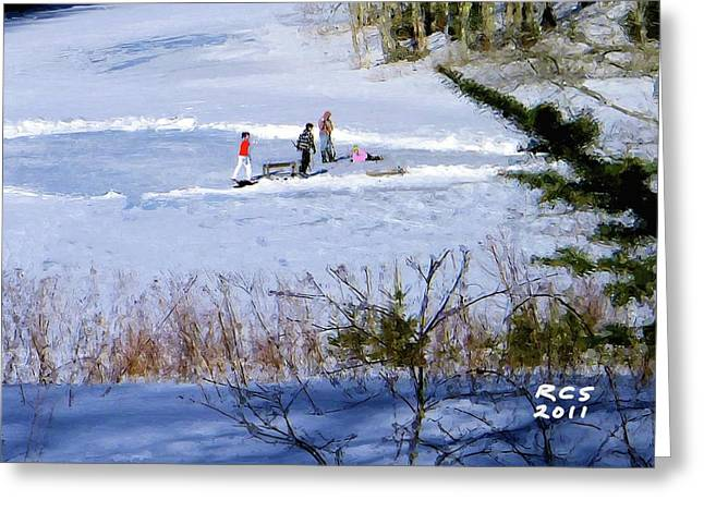 Maine Ice Skaters Greeting Card