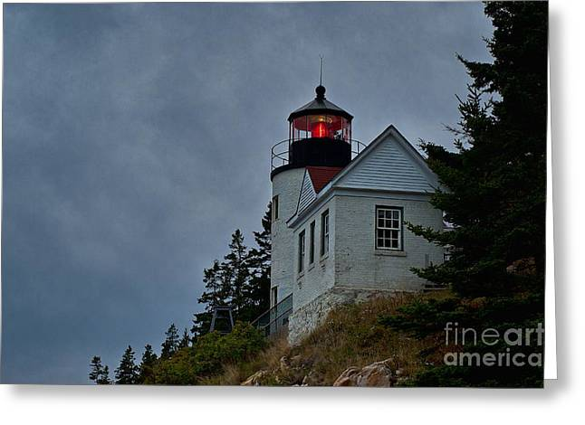 Maine Lighthouse Greeting Card by John Greim