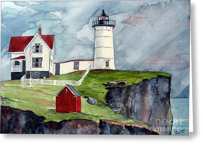Greeting Card featuring the painting Maine Lighthouse by Tom Riggs