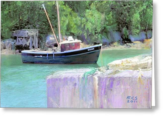 Maine Lobster Boat Greeting Card by Richard Stevens