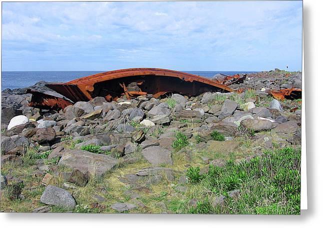 Maine Shipwreck Greeting Card by J R Baldini