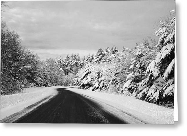 Maine Winter Backroad - One Lane Bridge Greeting Card by Christy Bruna