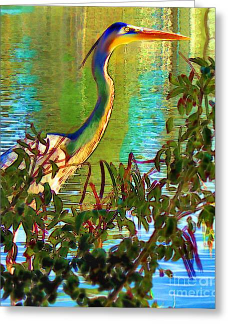 Greeting Card featuring the painting Majestic Crane by Elinor Mavor