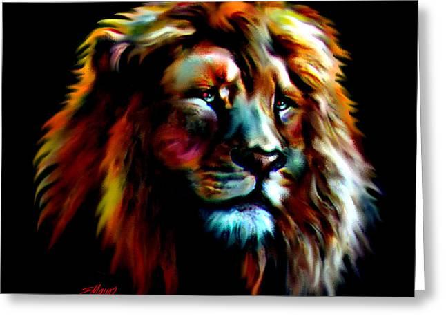 Majestic Lion Greeting Card by Elinor Mavor