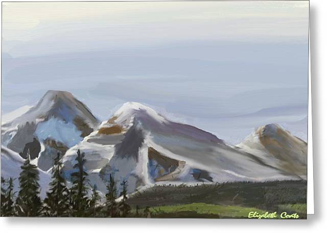 Greeting Card featuring the painting Majestic Mountains by Elizabeth Coats