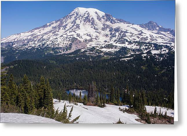 Majestic Rainier Reflected Greeting Card by Mike Reid