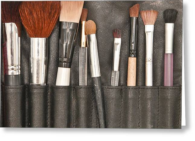 Make Up Brushes Greeting Card by Tom Gowanlock