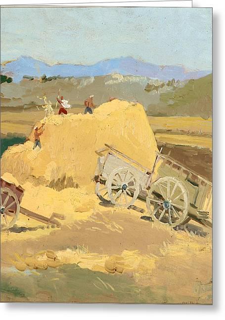 Making Hay Stacks Greeting Card