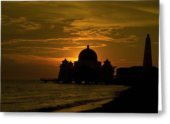 Malacca Straits Mosque Greeting Card by Ng Hock How