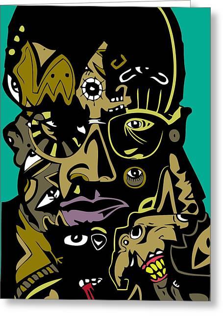 Malcolm X Full Color Greeting Card by Kamoni Khem