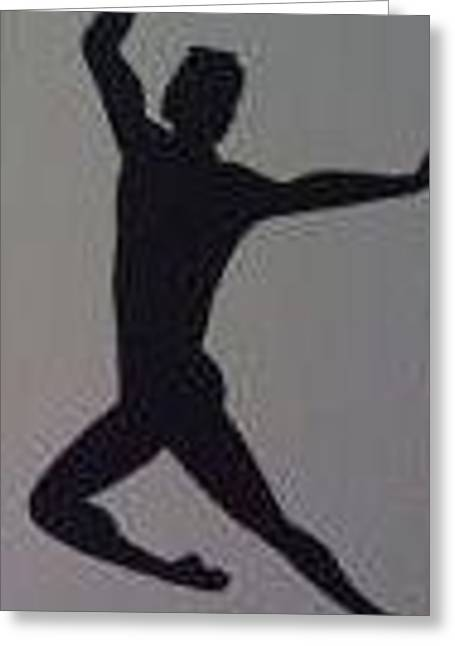 Greeting Card featuring the painting Male Dancer Silhouette by Judi Goodwin