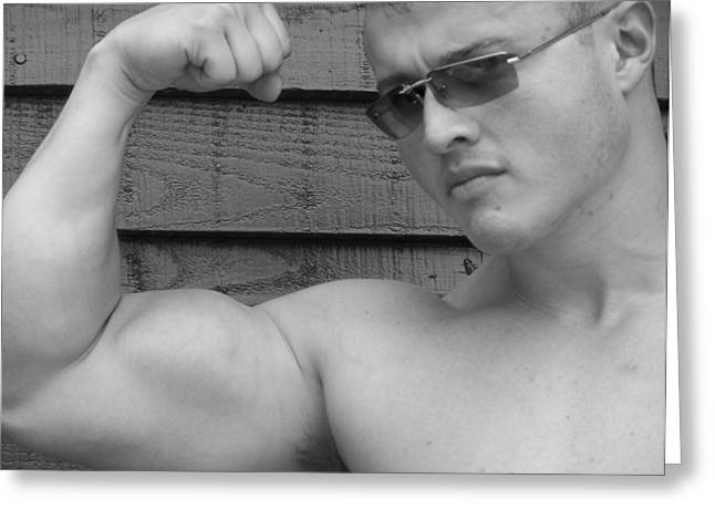 Male Muscle Art  Poser Greeting Card by Jake Hartz