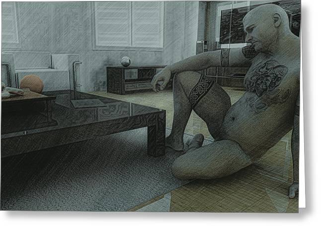 Male Nude Study Greeting Card by Maynard Ellis