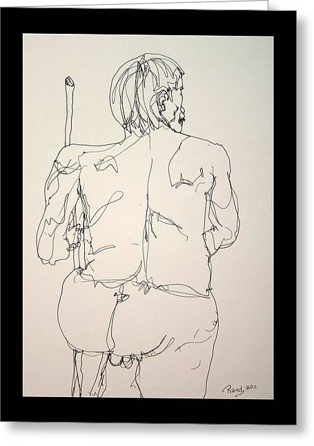 The Naked Man Hiking Greeting Card by Rand Swift