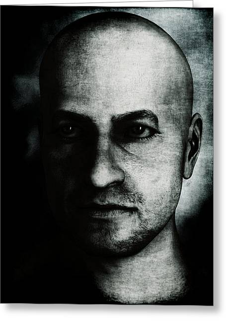 Male Portrait - Black And White Greeting Card