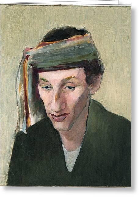 Male Portrait Greeting Card by Liubov Meshulam Lemkovitch