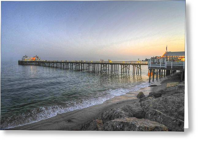 Malibu Pier Restaurant Greeting Card by Richard Omura