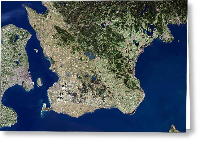 Malmo, Satellite Image Greeting Card by Planetobserver