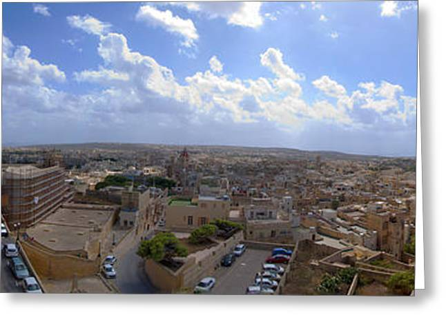 Malta Panoramic View Of Valletta  Greeting Card by Guy Viner