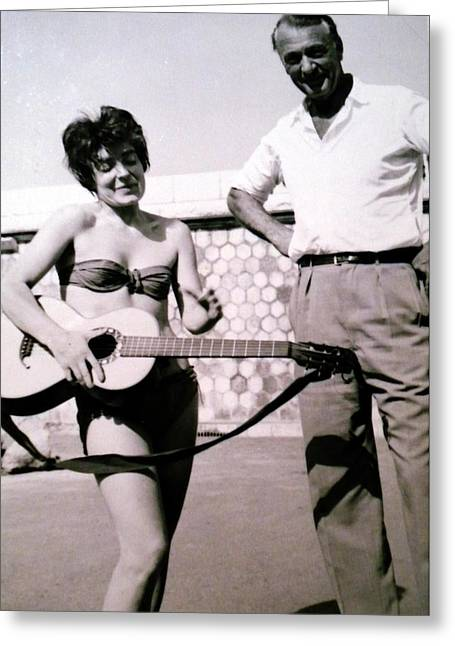 Greeting Card featuring the photograph Mama Chris And Gary Cooper In Monte Carlo 1958 by Colette V Hera  Guggenheim