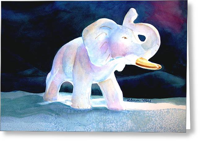 Greeting Card featuring the painting Mama's White Elephant by Sharon Mick