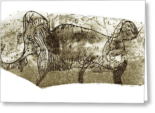 Mammoth, Prehistoric Bone Art Greeting Card by Sheila Terry
