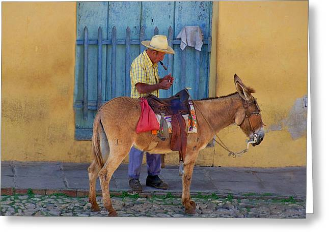 Greeting Card featuring the photograph Man And A Donkey by Lynn Bolt