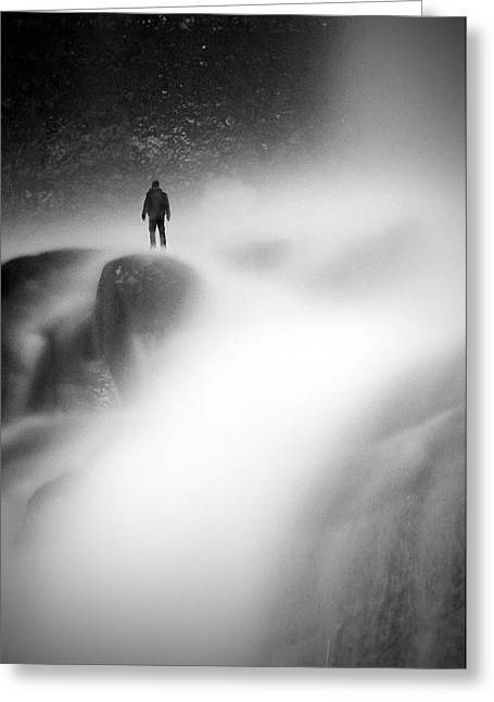 Man At Waterfall Greeting Card