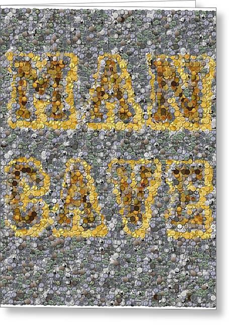 Man Cave Coin Mosaic Greeting Card by Paul Van Scott