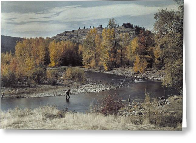 Man Fishes For Trout In The Naches Greeting Card by Clifton R Adams
