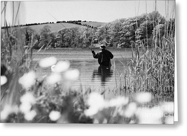 Man Flyfishing On Lake In Ireland Greeting Card by Joe Fox