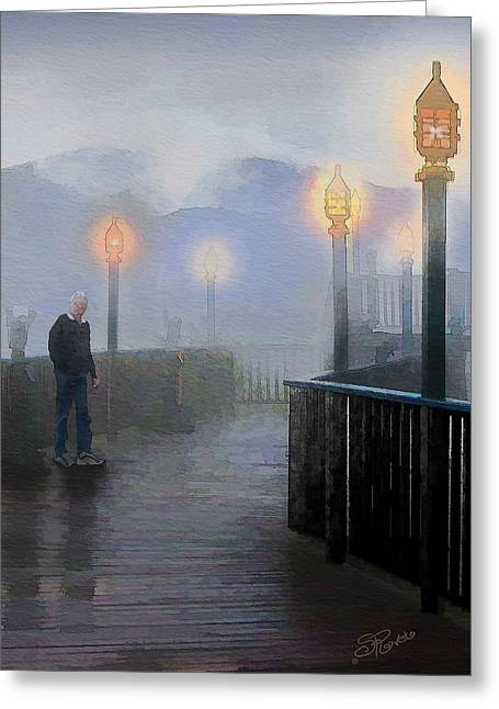 Man In A Fog Greeting Card by Suni Roveto