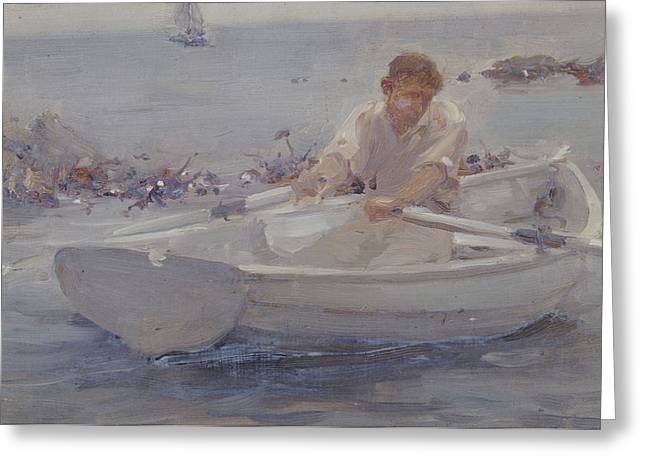 Man In A Rowing Boat Greeting Card by Henry Scott Tuke