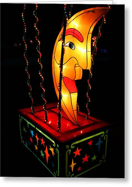 Man In The Moon Lantern Greeting Card by Greg Matchick