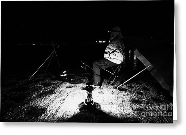 Man Nighttime Fishing Greeting Card by Joe Fox