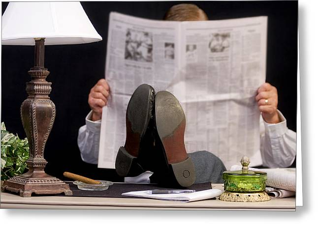 Man Read Newspaper Greeting Card by Trudy Wilkerson