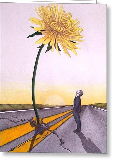 Man Vs. Nature Greeting Card by Michelle Harrington