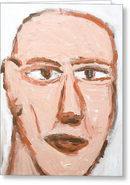 Man With A Scar On His Face Greeting Card by Kazuya Akimoto