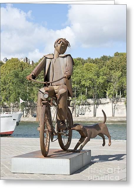 Man With Bicycle Greeting Card