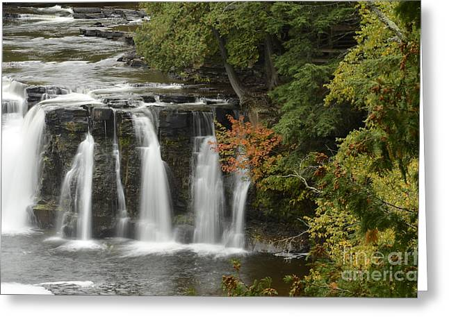 Manabezho Falls Greeting Card by Whispering Feather Gallery