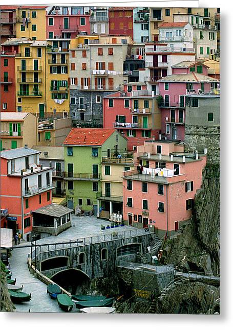 Manarola Houses On The Cinque Terre Greeting Card by Greg Matchick