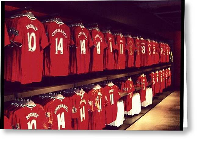 #manchesterunited #manunited #megastore Greeting Card