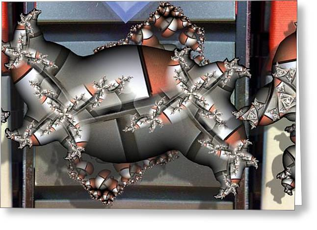 Mandelbrot Meets Mondrian Greeting Card by Ron Bissett