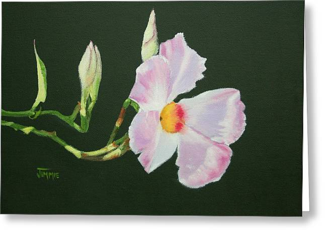 Greeting Card featuring the painting Mandevilla Reaching Out by Jimmie Bartlett