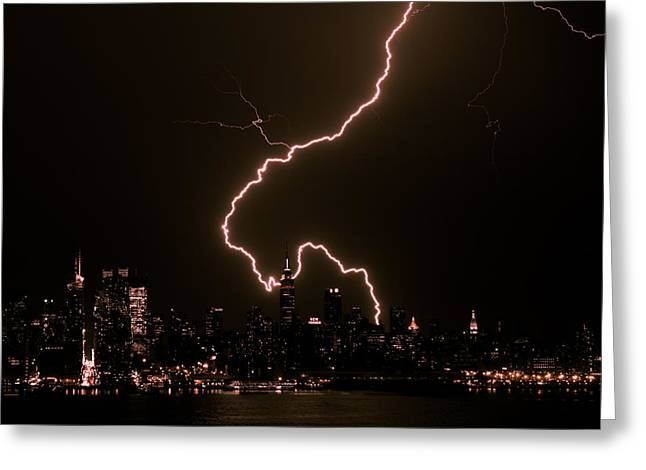 Manhattan Always Electrifying Greeting Card by David Hahn