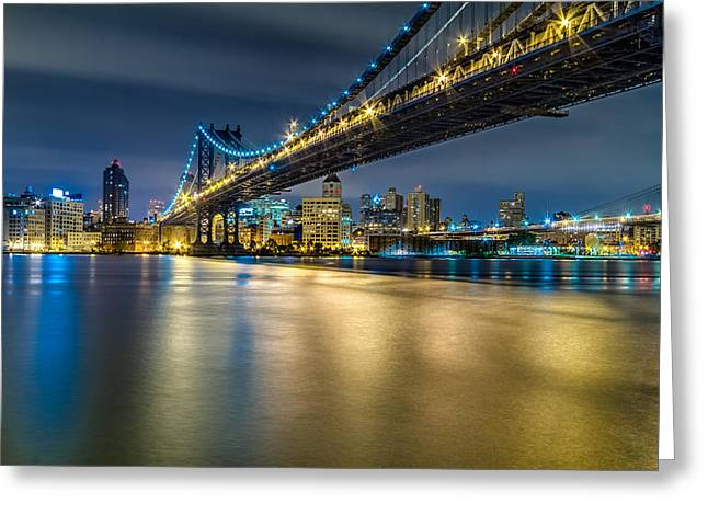 Manhattan Bridge And Downtown Brooklyn At Night. Greeting Card